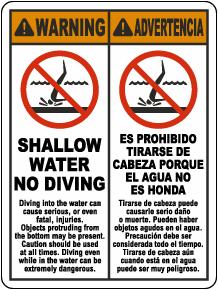 Bilingual Warning Shallow Water No Diving Sign