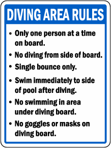 Diving Area Rules Sign