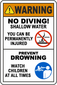 Warning No Diving Prevent Drowning Sign