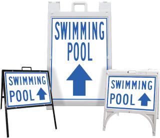 Swimming Pool Up Arrow Sandwich Board