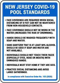 New Jersey COVID-19 Pool Standards Sign