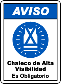 Spanish High Visibility Clothing or Vest Must Be Worn Sign