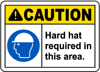 Spanish Caution Hard Hat Required Beyond This Sign