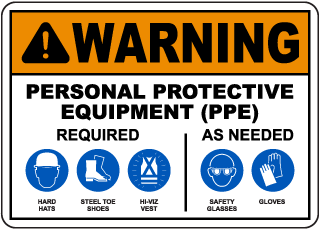 Warning PPE Required As Needed Sign
