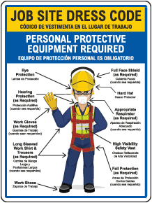 Bilingual Job Site Dress Code Max PPE Required Sign