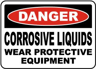 Danger Corrosive Liquids Sign
