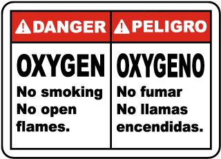 Bilingual Oxygen No Smoking Sign