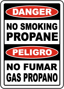 Bilingual No Smoking Propane Sign