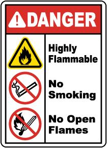 Highly Flammable No Smoking Sign