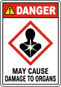 Danger May Cause Damage To Organs GHS Sign