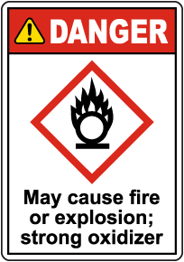 Danger May Cause Fire Or Explosion GHS Sign
