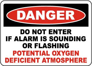 Danger Do Not Enter Oxygen Deficient Atmosphere Sign