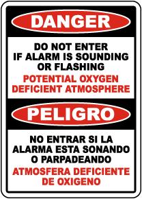 Bilingual Danger Do Not Enter Oxygen Deficient Atmosphere Sign