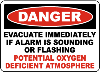 Danger Evacuate Oxygen Deficient Atmosphere Sign
