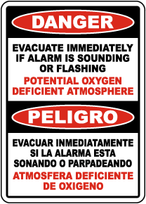 Bilingual Danger Evacuate Oxygen Deficient Atmosphere Sign