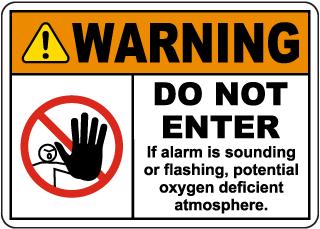 Warning Do Not Enter Oxygen Deficient Atmosphere Sign
