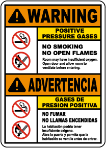 Bilingual Warning Positive Pressure Gases Sign