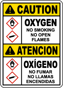Bilingual Caution Oxygen No Smoking No Open Flames Sign