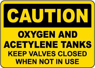 Caution Oxygen And Acetylene Tanks Sign