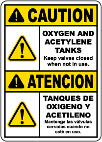 Bilingual Caution Oxygen And Acetylene Tanks Sign