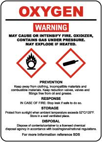 Oxygen Hazardous Warning Sign
