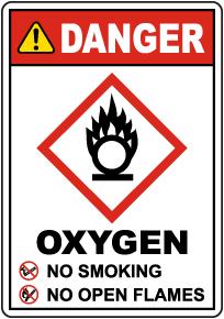 Danger Oxygen No Smoking No Open Flames Sign