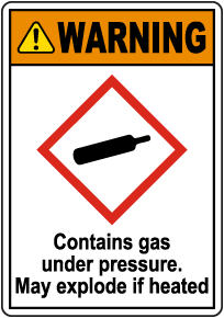 Warning Contains Gas Under Pressure GHS Sign
