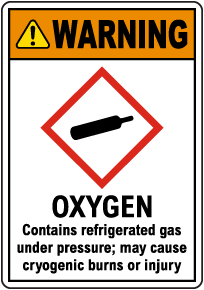 Warning Oxygen Contains Gas Under Pressure GHS Sign