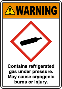 Warning Contains Refrigerated Gas Under Pressure GHS Sign