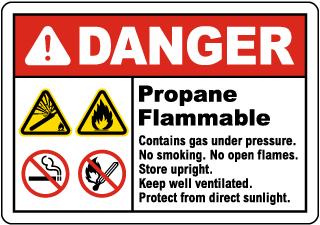 Danger Propane Flammable Sign