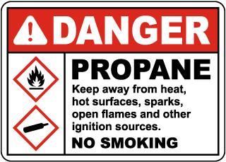 Danger Propane Keep Away No Smoking Sign