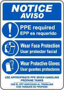 Bilingual Notice PPE Required When Handling Propane Tanks Sign