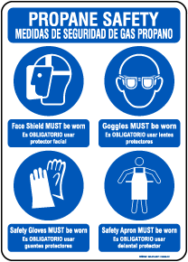 Bilingual Propane Safety Personal Protection Sign