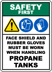Safety First PPE Required When Handling Propane Tanks Sign
