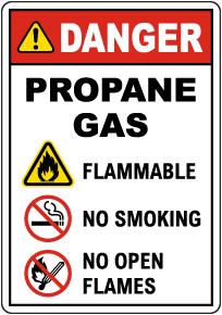 Danger Propane Gas Flammable No Smoking Sign