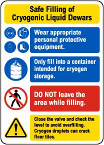 Safe Filling of Cryogenic Liquid Dewars Sign