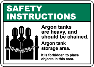 Safety Instructions for Argon Tanks Sign