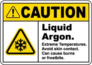 Caution Liquid Argon Sign