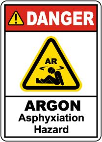 Danger Argon Asphyxiation Hazard Sign