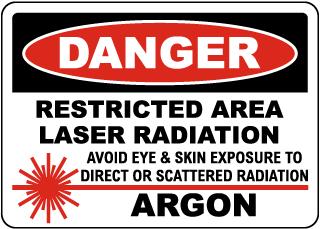 Danger Argon Laser Radiation Sign