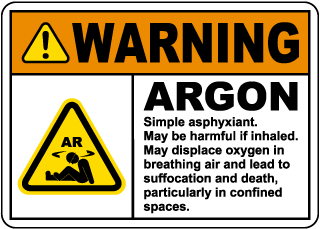 Warning Argon Simple Asphyxiant Sign