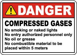 Danger Compressed Gases Sign