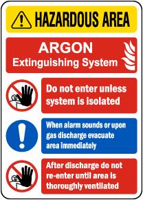 Argon Extinguishing System Sign