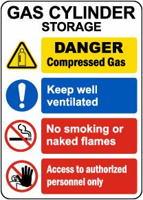 Gas Cylinder Storage Sign