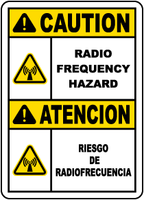 Bilingual Caution Radio Frequency Hazard Label