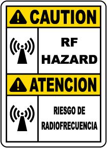 Bilingual Caution RF Hazard Label