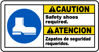 Bilingual Caution Gloves Required Sign