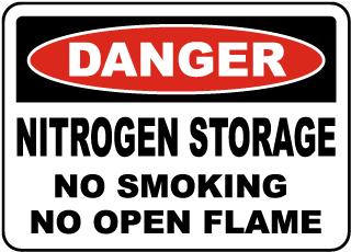 Nitrogen Storage No Smoking Sign