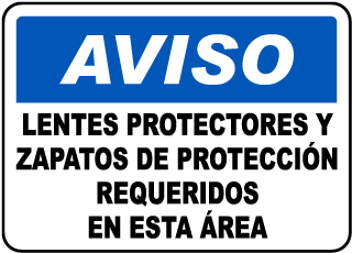 Spanish Safety Glasses & Shoes Required Sign