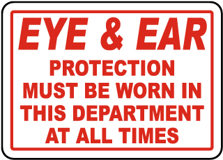 Eye & Ear Protection Must Be Worn Sign
